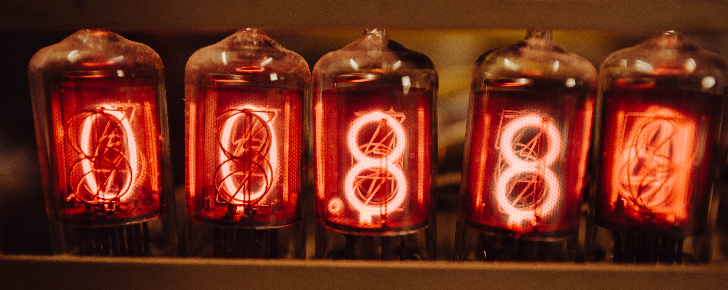 A team of lamps with numbers
